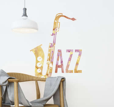 You like jazz? This jazz sticker is great for you! A simple design featuring the word Jazz, the cool part being that the J is a saxophone
