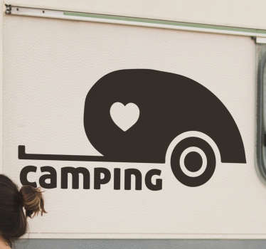 Heart camping caravan sticker