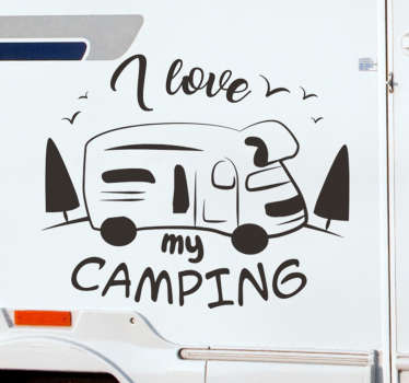 Easy to apply adhesive car vinyl decal design of a caravan with text '' i love camping'' you can enjoy the design in any colour of your choice.