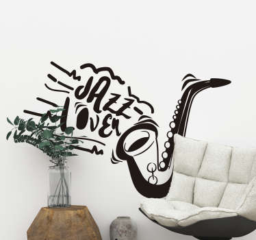 Decorative and easy to apply music wall decal of a saxophone with the text '' i love jazz. You can enjoy the design in any colour that you prefer.