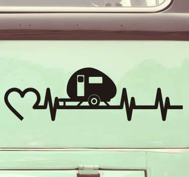 Vehicle vinyl decal created with a caravan riding on a love beat and a heart by it side symbolic for love movement and it can be in any colour .
