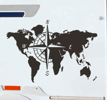 Easy to apply car vinyl decal design of a world map with compass featuring all it cardinal points of angle and it can be in any colour you prefer.