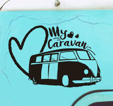 Easy to apply car decal created with a caravan and the text that says '' my caravan. On the design is a big heart shape that express your love.