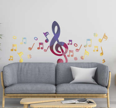 Home wall decal of music sounds and notes in multi colours to decorate the space in the home, be it the living room or bedroom.