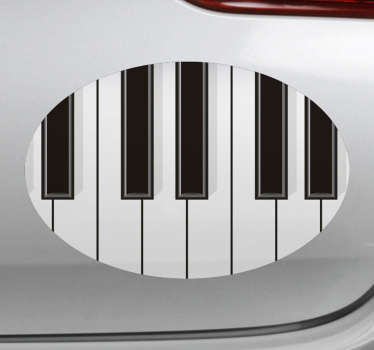 Easy to apply car vinyl sticker design of a piano with it key features on it in a round surface background. You can apply it on the bonnet or window.