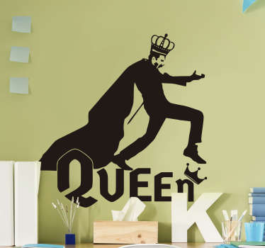 Decorative and easy to apply wall art decal of pop artist in the person of Freddie Mercury with the text '' Queen'' and you can have it in any colour.