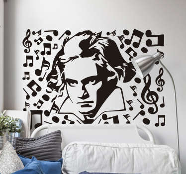 Easy to apply decorative wall decal of a classical music character in the person of Beethoven, on the design also are music and instrument symbols.