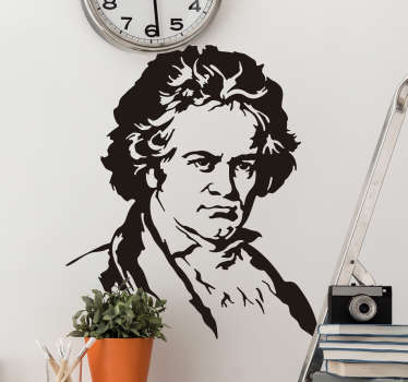 Buy our easy to apply decorative wall sticker silhouette portrait of Beethoven portrait, a classical music art personality .