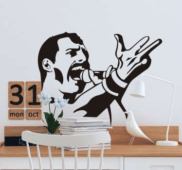 Self adhesive easy to apply wall decal character portrait of Freddie Mercury, it is designed in a drawing style in black and white .