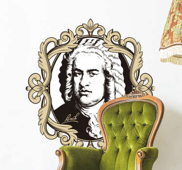 A  decorative wall decal portrait of Johann Sebastian Bach in black and white colour. Easy to apply adhesive vinyl that you will love.