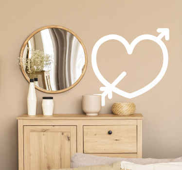 Fall in love with this adorable love sticker, depicting a heart pierced by Cupid's arrow! An ideal sticker for those wanting a  new look in their home