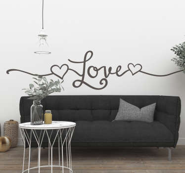 Line style love wall sticker