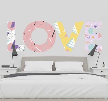 A bright, fun, memphis love sticker for those who want to spread the love! A love decal that can be used as a headboard or simply as of wall art