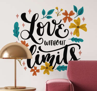 Sticker amore floreale love without limits