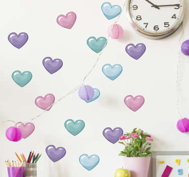 Pack of hearts love wall sticker