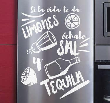 """Fantástico vinilo adhesivo para nevera con frase """"SI LA VIDA TE DA LIMONES"""" con el que decorarás tu cocina y reflejarás tu personalidad."""