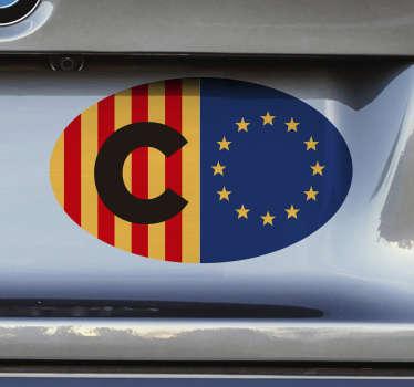Increíble pegatina para coche de Catalunya y la Unión Europea con la que podrás reivindicar tus creencias a la vez que decoras tu coche.