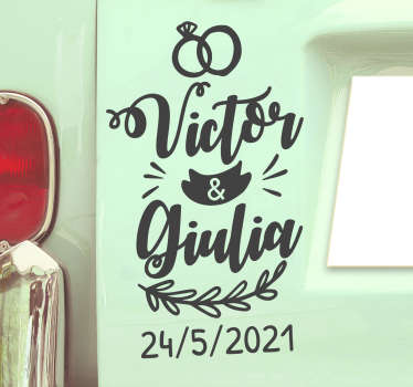 Decorative and easy to apply wedding vinyl sticker for car with name and date that can be customised for you. It has lovely symbolic features on it.