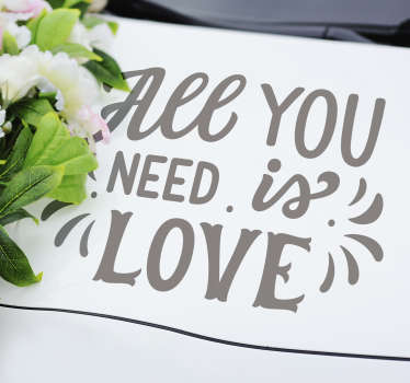 Easy to apply decorative wedding vinyl for car with the text '' all you need is love'' you can drive to the wedding venue in any colour with it.