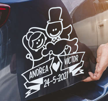 Adhesive wedding car decal of a drawing boyfriend personalisable with name and date. You can have it in any colour and size also. Easy to apply.