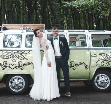 Easy to apply car decal created with floral for weddings. This design can be applied on the vehicle of wedding couple for the big day.