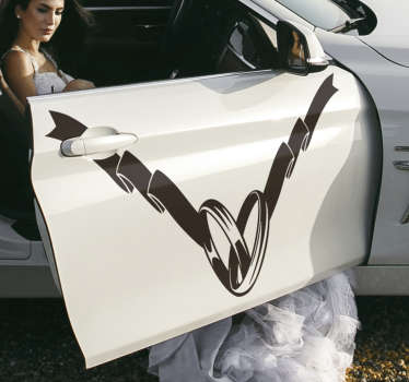 Wedding ring decoration decal for car to apply on your car for wedding ceremony. You can have this design in any colour you prefer.