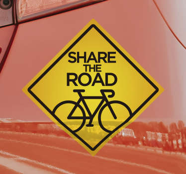 Easy to apply self adhesive car sticker created with a bicycle and a text that says '' share the road. This design is on a quadratic shape.