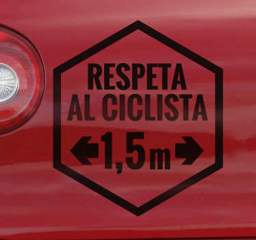 """El vinilo de auto fácil de aplicar con el texto """"respeta al ciclista"""" con la distancia mínima que deben respetar. Puedes elegir esto en tu color preferido."""