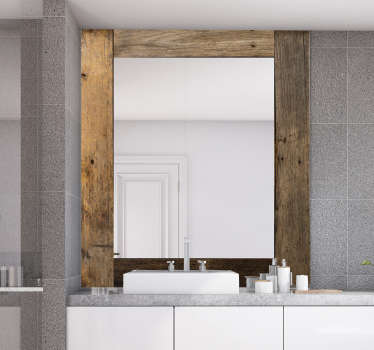 Decorate your bathroom and dressing mirror with this our rich vintage  wooden texture mirror frame sticker in square. Easy to apply adhesive design.