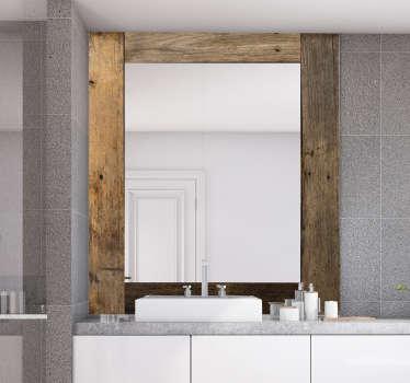 Décorez votre salle de bain et votre miroir de dressing avec ce riche autocollant de cadre de miroir en bois texture vintage en carré. Conception adhésive facile à appliquer.