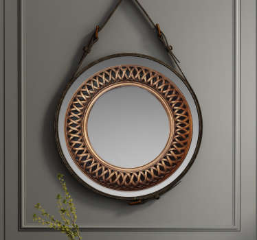 Easy to apply mirror frame decal created with an antique effect in an intertwine weaves style. You can apply this in your bathroom or dressing mirror.