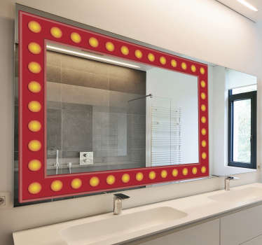 Easy to apply mirror frame decal created with light bulb effect in a square shape to decorate the surface of your bathroom and dressing mirror.