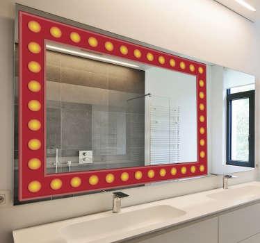 Vinilo de marco de espejo fácil de aplicar creado con efecto de bombilla en forma cuadrada para decorar la superficie de su baño y espejo de tocador.