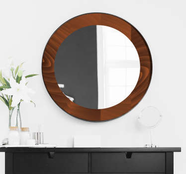 An easy to apply mirror frame decal created in a deep brownish wooden texture that will beautify the surface of your bathroom and dressing mirror.