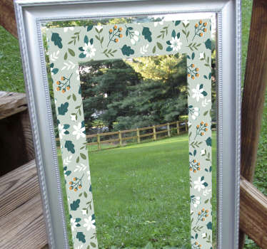 East to apply mirror sticker created with colourful floral in a rectangular shape. You can use this on your bathroom or dressing mirror.