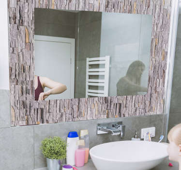 Easy to apply mirror frame decal created with an ornamental stone texture that you will love. Just chose the size that you prefer.