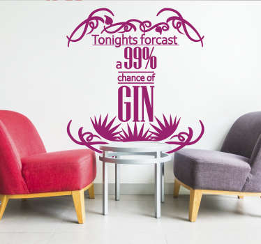 Gin forecast drink wall sticker