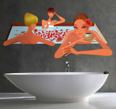 Bathroom wall stickers - A colorful bathroom decal that gives your bathroom a unique look Featuring ladies relaxing in a Jacuzzi.