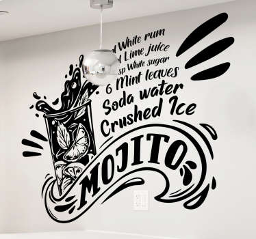 Mojito recipe drink wall sticker