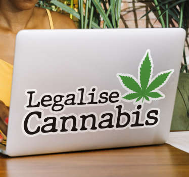 Legalise cannabis laptop decal