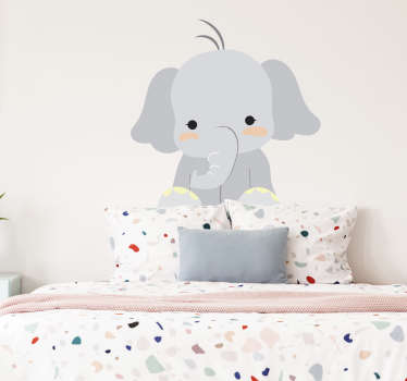 A cuddle elephant wall sticker for the little ones at home. Decorate your child's room with this friendly elephant that your child will love!