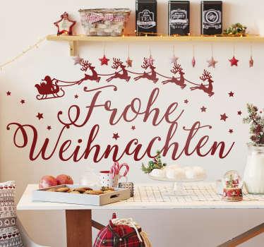 """Wunderschöner Wandsticker für die Weihnachtszeit! Schmücken Sie Ihr Wohnzimmer mit dem Slogan """"Frohe Weihnachten"""" und dem Schlitten vom Weihnachtsmann"""