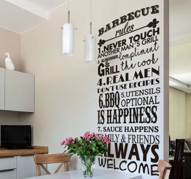 BBQ rules kitchen wall decal