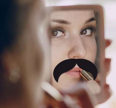 Sticker miroir moustache tombante