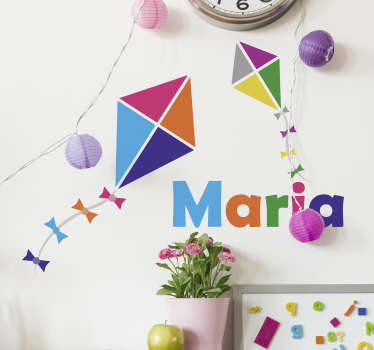 Decorate with this superb personalised sticker, featuring two colourful kites flying above a name of your choice! Easy to apply
