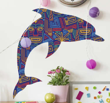 Maori dolphin art wall decal
