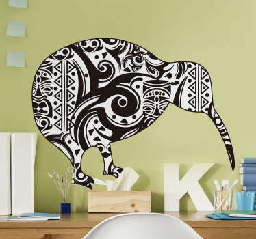 Who doesn't love a kiwi? A superb design depicting a kiwi decorated with Maori art style! This art sticker makes for a great addition to any home!