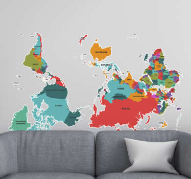 Upside down world map sticker