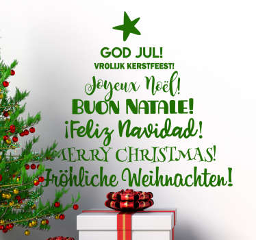 A festive vinyl sticker of Christmas greetings in different languages to decorate your home. You can have the design in any colour of your choice.