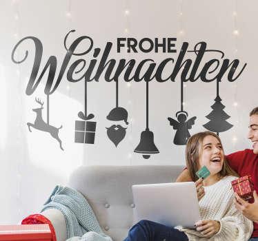 """Dieser originelle Aufkleber mit der Botschaft """"Frohe Weihnachten"""" ist das was Sie für Ihr Schaufenster oder beliebige Wand noch brauchen!"""